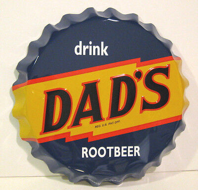 """DAD'S ROOT BEER BOTTLE CAP SIGN Metal 3D Large 19"""" Stout NICE! Father's Day Gift"""