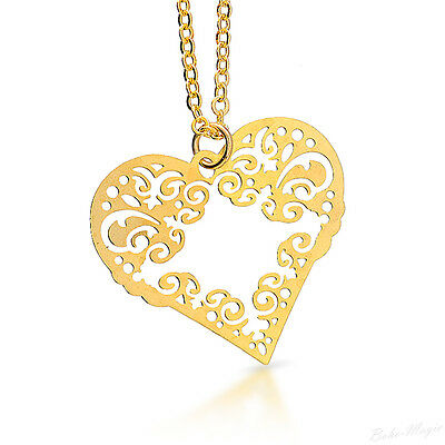 Gold Plated 14k Necklace Heart Love Pendant Designer Charm & Chain Lady Warranty