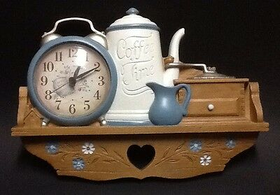 """Vintage 1988 Burwood Products """"Coffee Time"""" Clock Collectible Decoration"""