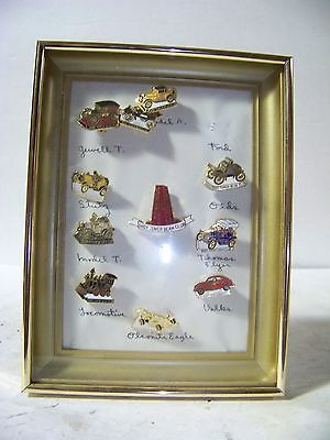 Jim Beam Antique Car Pins In Frame 9 +1 Other Jim Beam Pin
