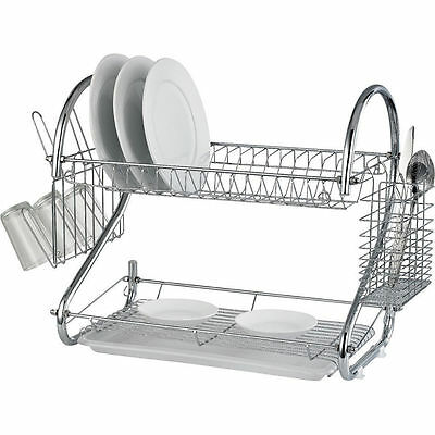 Deluxe Silver 2 Tier Chrome Kitchen Drip Dish Drainer Plates Rack Kitchen Home