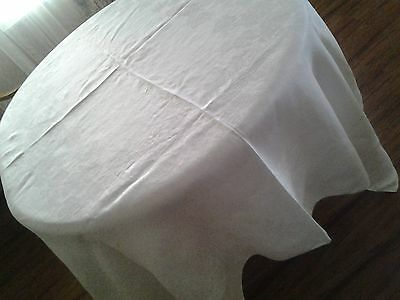 "GORGEOUS WHITE IRISH LINEN DOUBLE DAMASK  TABLECLOTH 68"" X 80 "" ROSES"
