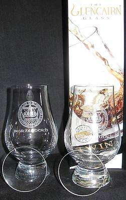 BRUICHLADDICH TWIN PACK GLENCAIRN SCOTCH WHISKY GLASSES W/TWO WATCH GLASS COVERS