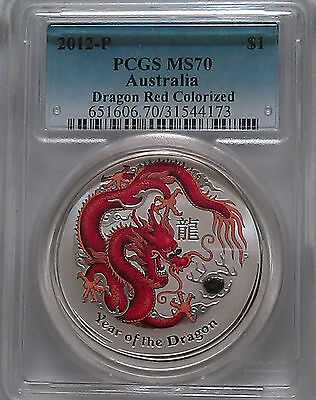 PCGS MS70 2012-P Australia Year of the DRAGON Red Colorized Lunar $1 Silver 1oz