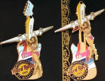 Hard Rock Cafe ST. MAARTEN 2015 4th Anniversary PIN Girl Hold on Airplane Guitar