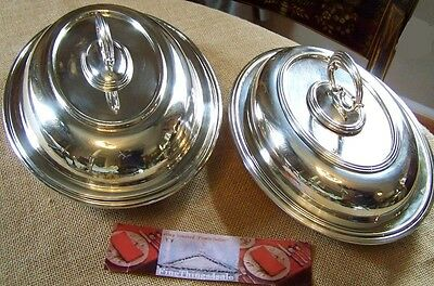 2 LARGE QUEEN ANNE ENGLISH SILVER WARMING ENTREE TRAY DISHES our FineThings4sale