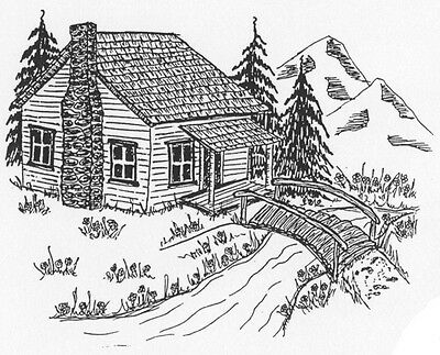 Unmounted Rubber Stamps, Mountain Cabin, Scenic Stamps, Old Log Cabin, Mountains