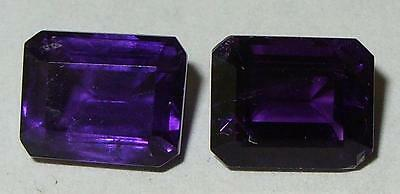 7.60ct PAIR NATURAL AFRICAN RICH PURPLE AMETHYST EMERALD CUTS