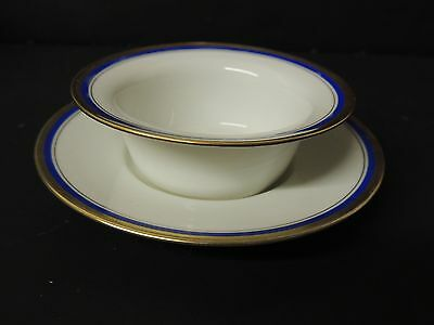 Antique Vignaud Limoges Finger Bowl with Underplate Cobalt Gold France Rare