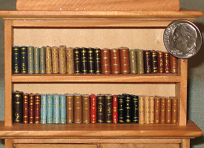 48 Miniature Dollhouse Handmade Leather Books 1/2 INCH SCALE - 1/24th Scale