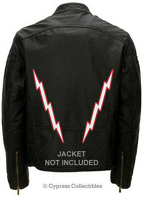 TWO RED LIGHTNING BOLT PATCHES BIKER PATCH * 12-INCHES embroidered iron-on LARGE
