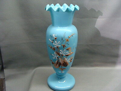 Victorian Blue Opaline Glass Vase With Enamel Painted Flowers