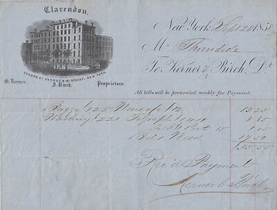 NEW YORK CITY - CLARENDON HOTEL 1858 INVOICE / INK DRAWING 4th Ave & 18th St NY