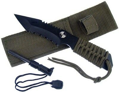 "Black Tactical Hunting Knife w/ Fire Starter 7"" Overall.  TK10612-70"