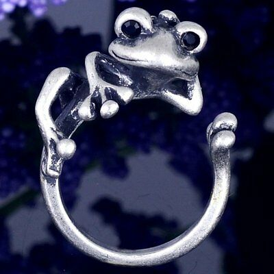 #R394A Unique Retro Frog With Black Crystal Eyes Cute Animal Hug Ring US Size 7