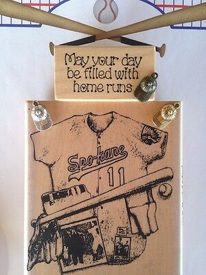 NEW RIVER CITY VINTAGE BASEBALL COLLAGE+DARCIE'S PHRASE WOOD MOUNT RUBBER STAMPS