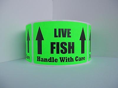 LIVE FISH HANDLE WITH CARE  Warning Sticker Label fluorescent green bkgd 250/rl