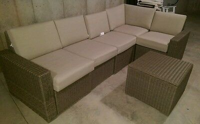 6 Piece Sectional Sofa Patio Set Wicker Light Brown from Target