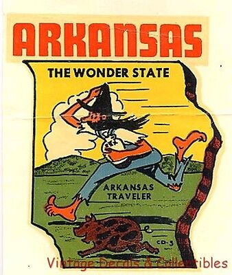 Vintage 1951 Arkansas Wonder State Novelty Souvenir Travel Decal Original Water