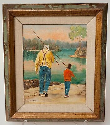 CHARMING GRANDPA AND BOY FISHING OIL ON CANVAS PAINTINGS signed B.SCHERER