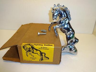VINTAGE USA 9 INCH FIGHTING STALLION MUSTANG HORSE FORD ETC CAR HOOD ORNAMENT