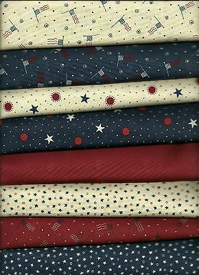 Moda Sandy Gervais Red White & Free Cotton Quilt Fabric 8 cuts 1/2 yd ea NEW!