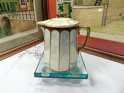 """ANTIQUE KNOWLES TAYLOR KNOWLES MOTHER OF PEARL DECO 6"""" SYRUP PITCHER 1890-1929"""