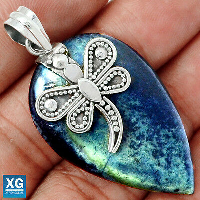"SP179775 ""DRAGONFLY"" VIVIANITE 925 STERLING SILVER PENDANT JEWELRY"