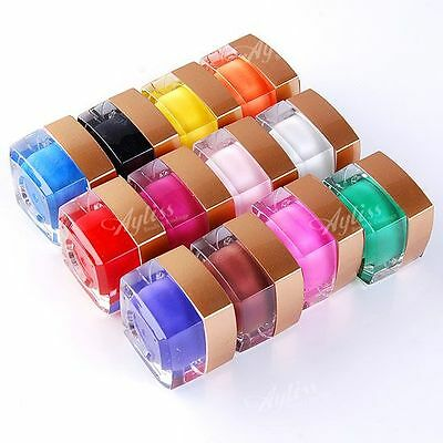 12 Pot Pure Solid Colors 8ml UV Builder Gel Set For Nail Art Tips Extension Pro.