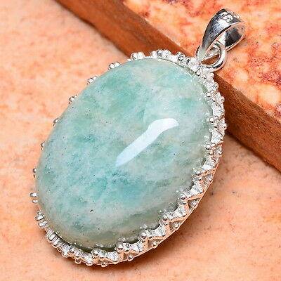 NATURAL RUSSIA AMAZONITE GEMSTONE 100% SOLID 925 STERLING SILVER PENDANT 1 1/8""
