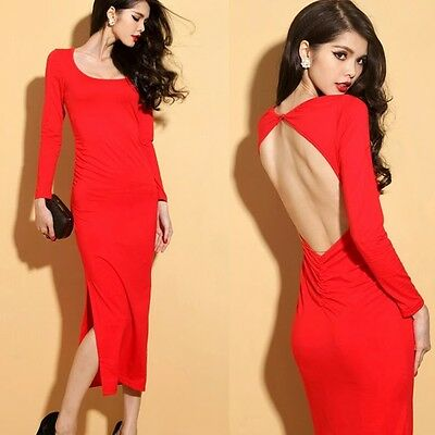 Sexy Crew Neck Backless Chain Side Slits Womens Long Dress Stretch Bodycon Red