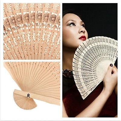 Vintage Chinese Japanese Style Hollow Folding Bamboo Wooden Carved Hand Fan Gift