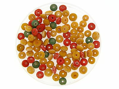 Vintage Rare Old Round Pi Green Yellow Red Coated Trade Glass Trade Bead Lot
