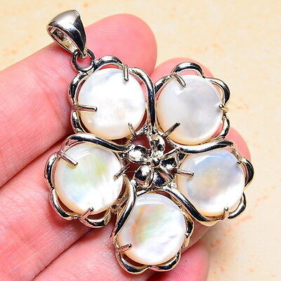 """GORGEOUS! NATURAL MOTHER OF PEARL 2"""" FLOWER PENDANT"""