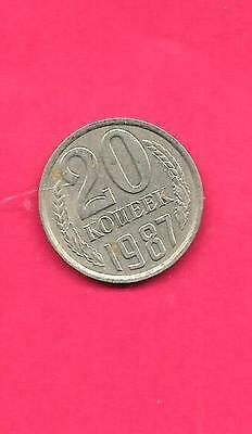 RUSSIA RUSSIAN USSR Y132 1987 VF-VERY NICE OLD VINTAGE USED 20 KOPEK COIN