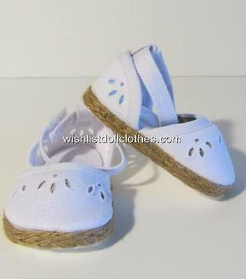WHITE CANVAS DOLL SHOES fits American Girl Doll & 18 Inch Dolls