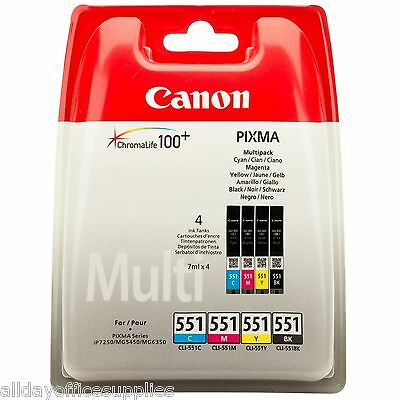 Genuine Canon CLI-551 BK/C/M/Y 4 Colour Ink Cartridge Multipack For PIXMA iP8700