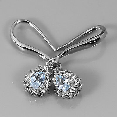Free shipping Natural blue topaz Sterling 925 Silver Earrings /E2455
