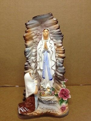 Our Lady Of Lourdes Bernadette  Statue 13'' Tall Ceramic Made In Italy