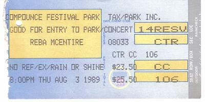 REBA MCENTIRE 1989 TICKET STUB Lake Compounce CT