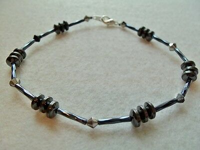 """ANKLE BRACELET MAGNETIC HEMATITE SILVER PLATED HEAL 9½"""""""