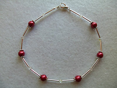 """MAGNETIC ANKLE BRACELET CRANBERRY RED MAGNETIC BEADS CLEAR AB CRYSTALS SP 9½"""""""