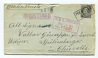 Sc 475 15c Gray-1917 Registered Censored Cover To Italy, Returned- D.D.L. Record