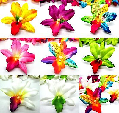 "Hawaiian Cattleya Silk Flower head Artificial Orchid 2.7"" Lot Wedding decoration"