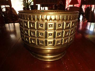 Vintage Mid-Century Hollywood Regency Brass Planter Raised Squares Design