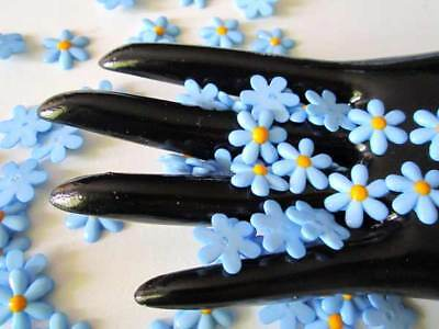 20Pcs Blue DAISY Flower Resin Flatback beads cabochons for Hair bow / Scrapbook