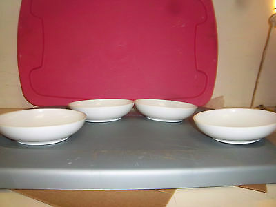 """LOT OF 4 VINTAGE BOONTON WHITE MELAMINE CEREAL BOWL 6 """" MELMAC 6305  MADE IN USA"""