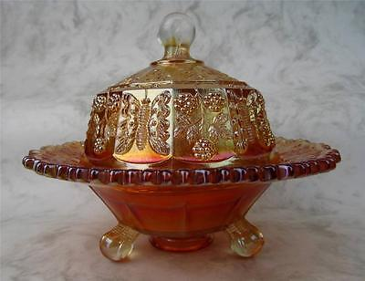 FLAWED BUT FAB BUTTERFLY & BERRY ~ FENTON MARIGOLD CARNIVAL GLASS BUTTER DISH
