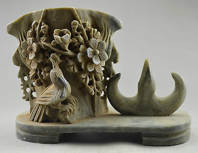 Collectible Decorate Old Shoushan Stone Carve Flower Bird Brush Pot & Penholder