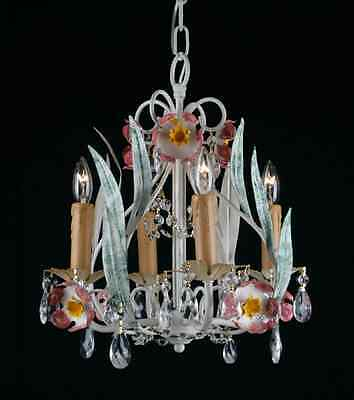 4 LIGHT PAINTED WROUGHT IRON CRYSTAL TOLE KITCHEN CHANDELIER HALLWAY
